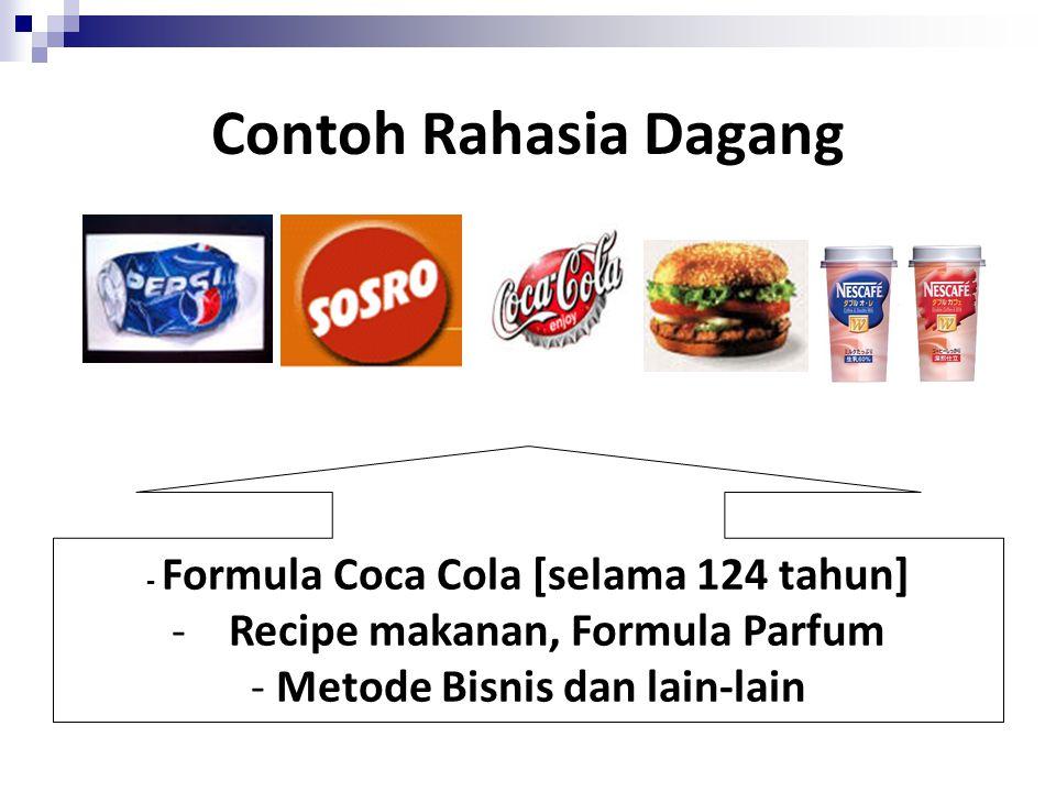 Contoh Rahasia Dagang Recipe makanan, Formula Parfum
