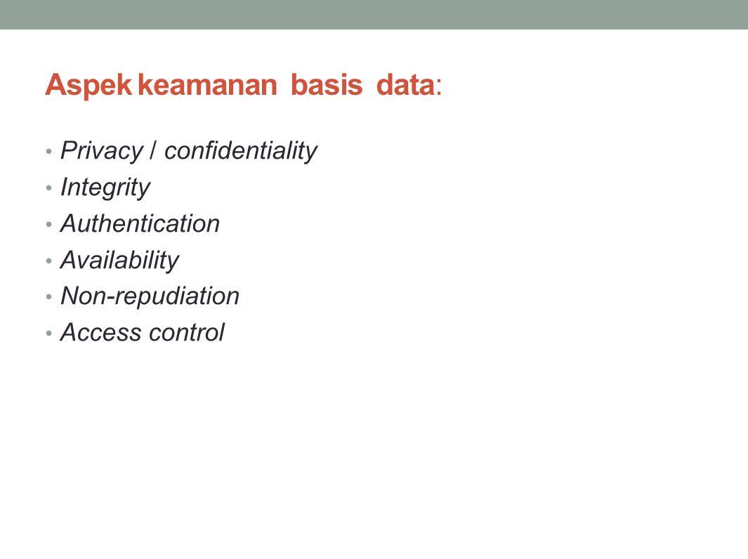 Aspek keamanan basis data: