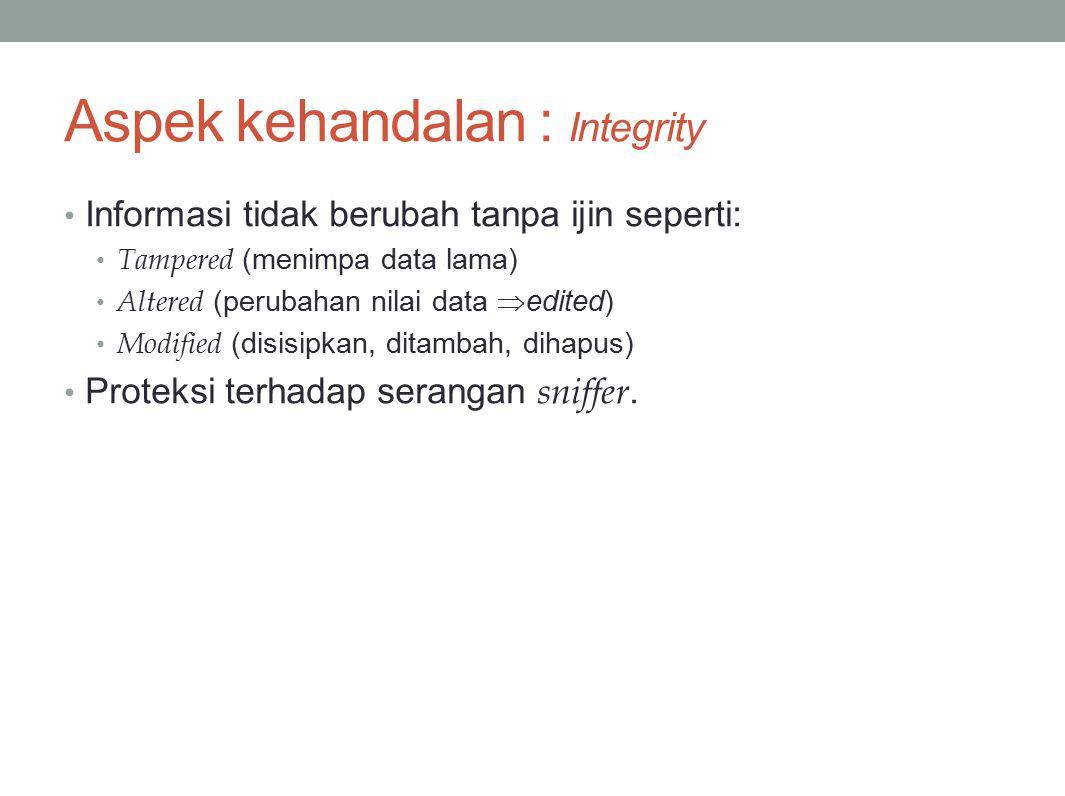 Aspek kehandalan : Integrity