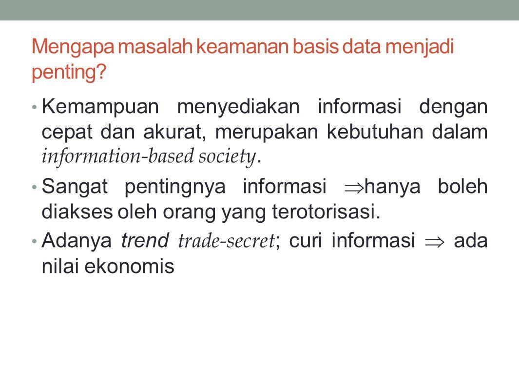 Mengapa masalah keamanan basis data menjadi penting