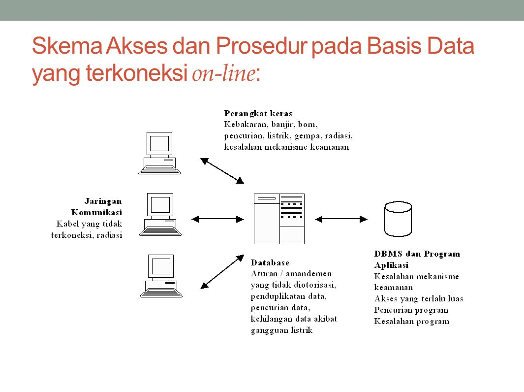 Skema Akses dan Prosedur pada Basis Data yang terkoneksi on-line: