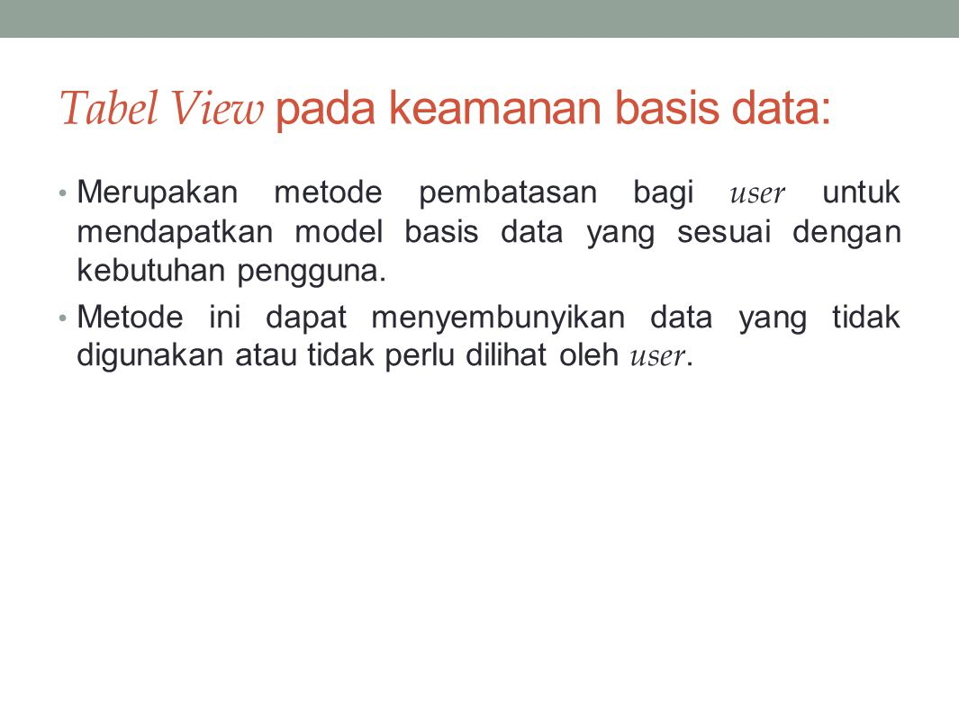 Tabel View pada keamanan basis data: