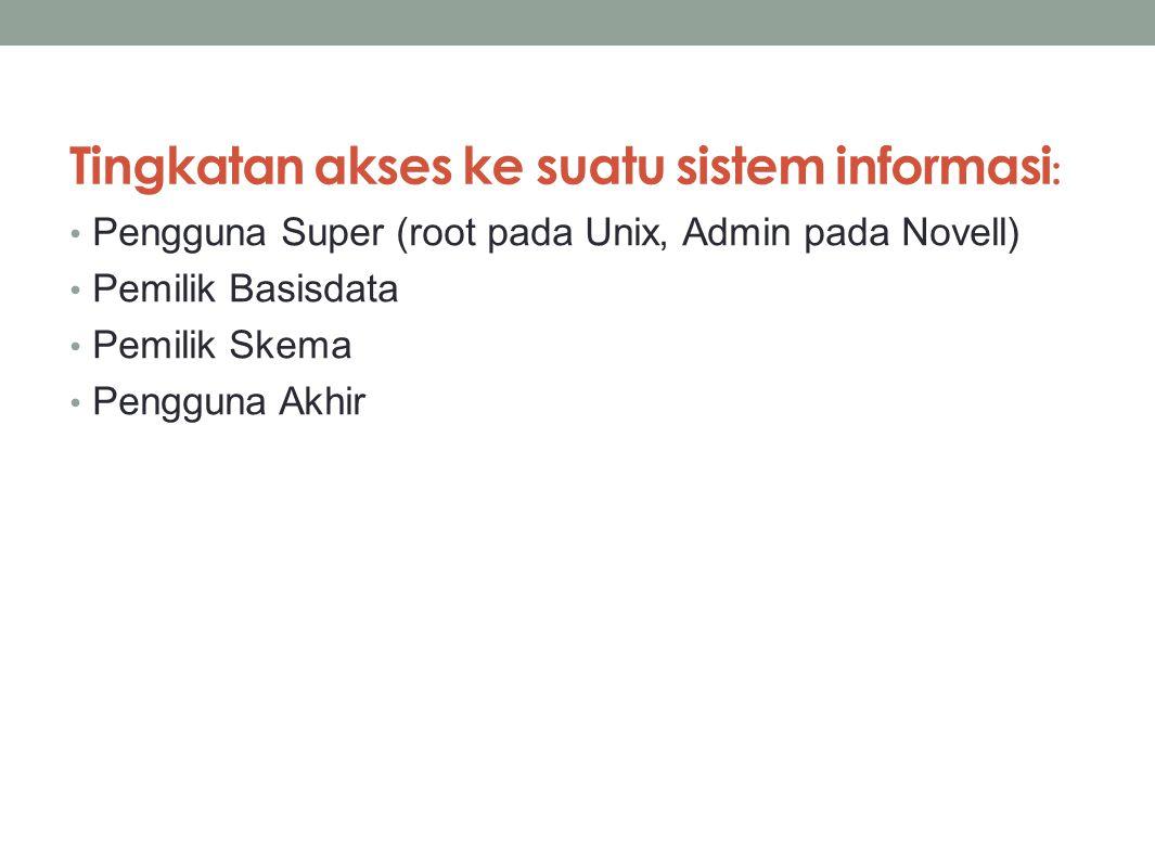 Tingkatan akses ke suatu sistem informasi: