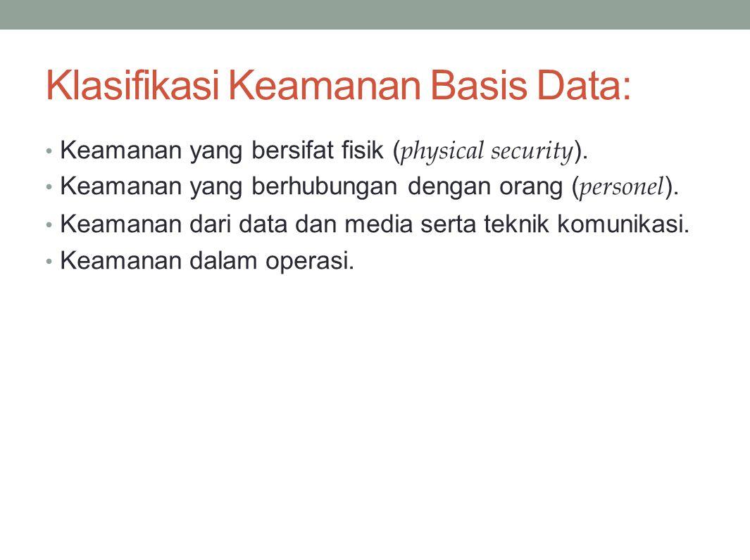 Klasifikasi Keamanan Basis Data: