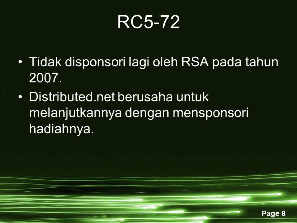 RC5-72 Tidak disponsori lagi oleh RSA pada tahun 2007.