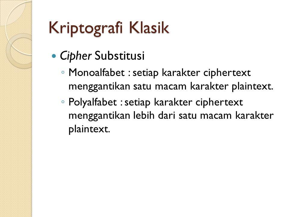 Kriptografi Klasik Cipher Substitusi