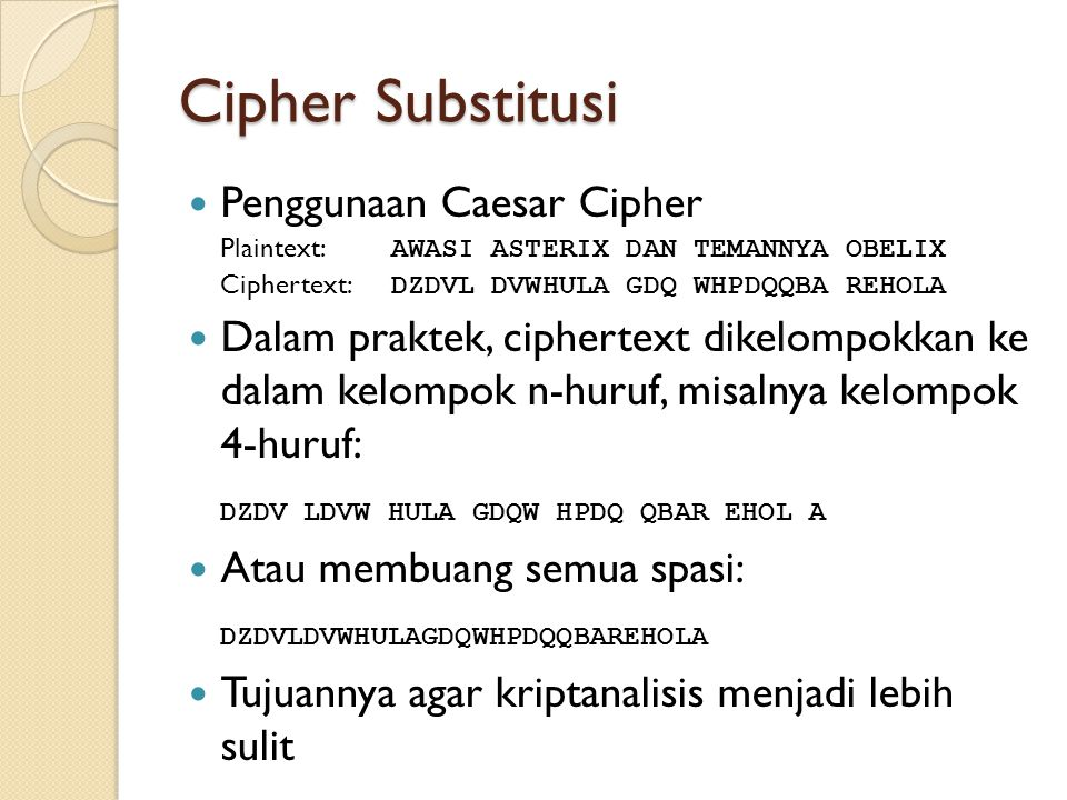 Cipher Substitusi Penggunaan Caesar Cipher