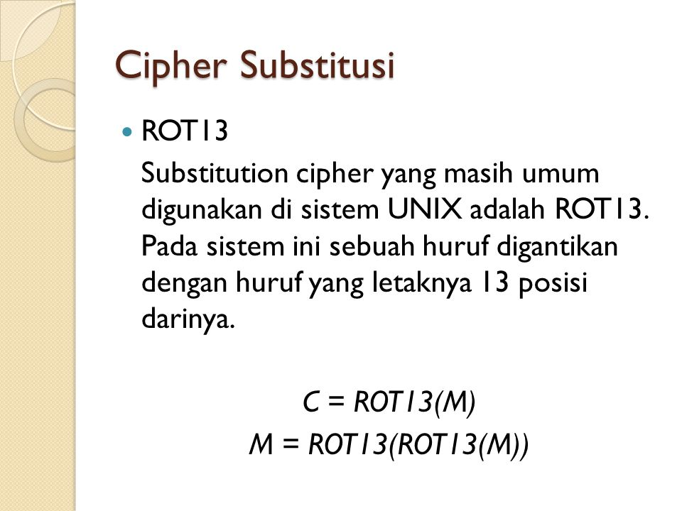 Cipher Substitusi ROT13.