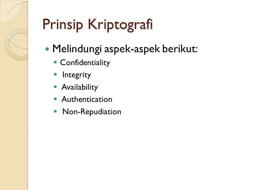 Prinsip Kriptografi Melindungi aspek-aspek berikut: Confidentiality