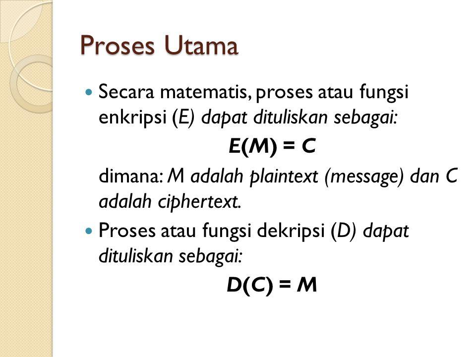 Proses Utama Secara matematis, proses atau fungsi enkripsi (E) dapat dituliskan sebagai: E(M) = C.