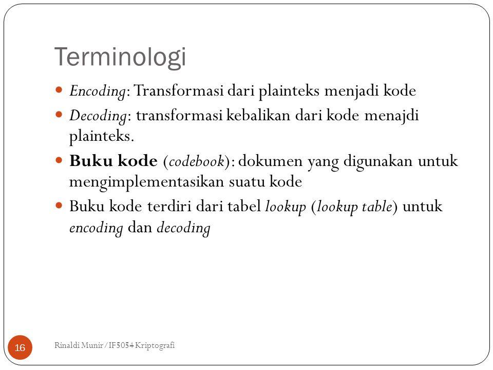 Terminologi Encoding: Transformasi dari plainteks menjadi kode