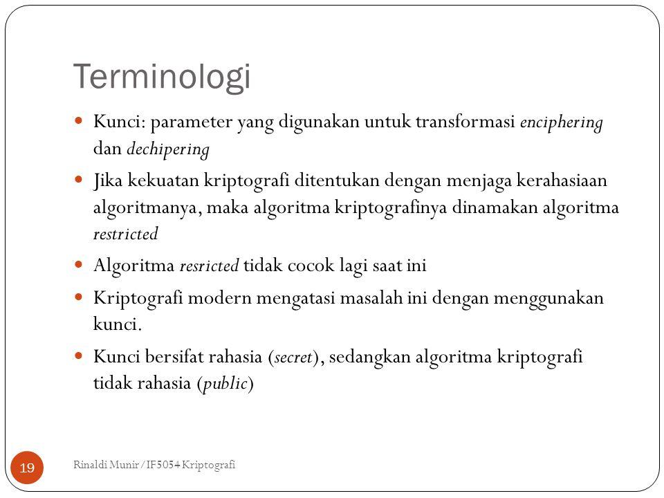 Terminologi Kunci: parameter yang digunakan untuk transformasi enciphering dan dechipering.