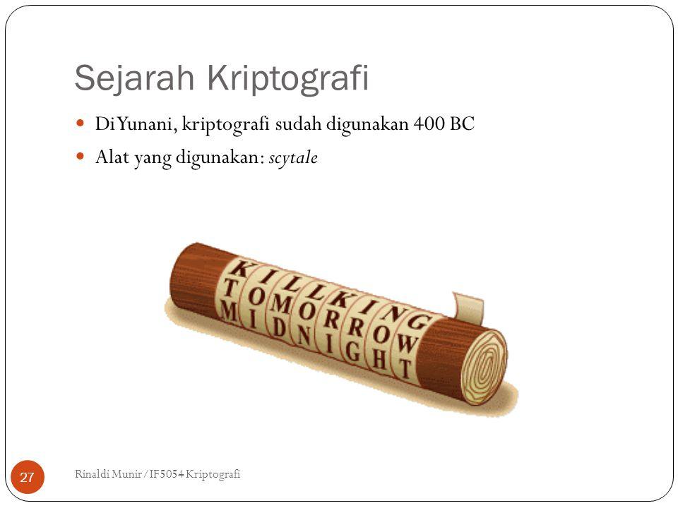 Sejarah Kriptografi Di Yunani, kriptografi sudah digunakan 400 BC