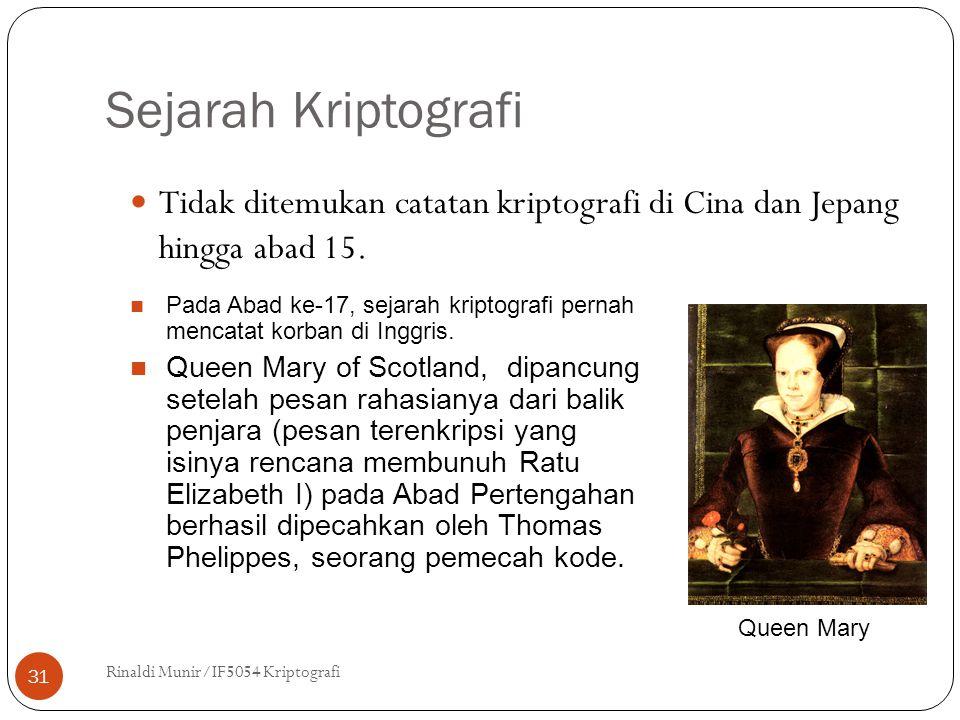 Sejarah Kriptografi Tidak ditemukan catatan kriptografi di Cina dan Jepang hingga abad 15.