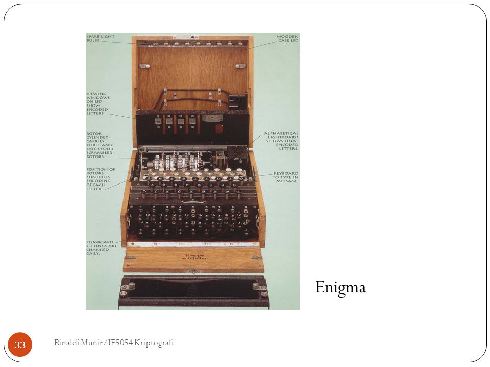Enigma Rinaldi Munir/IF5054 Kriptografi