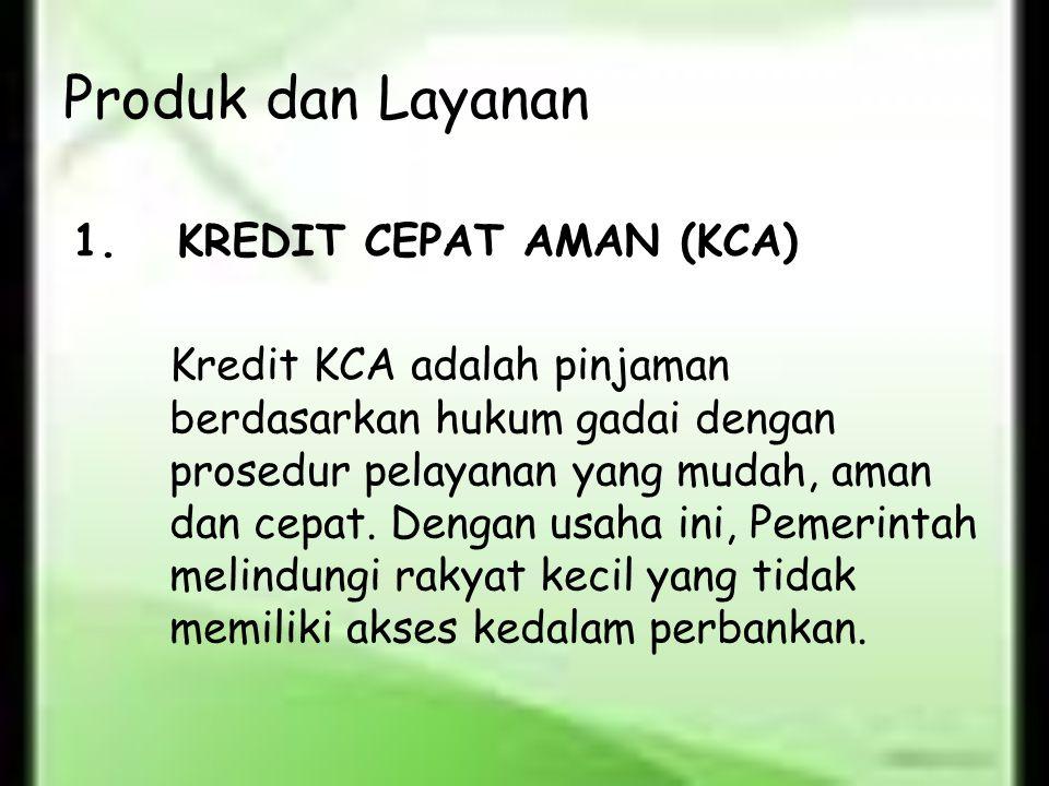 Produk dan Layanan 1. KREDIT CEPAT AMAN (KCA)