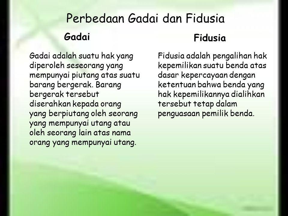 Perbedaan Gadai dan Fidusia