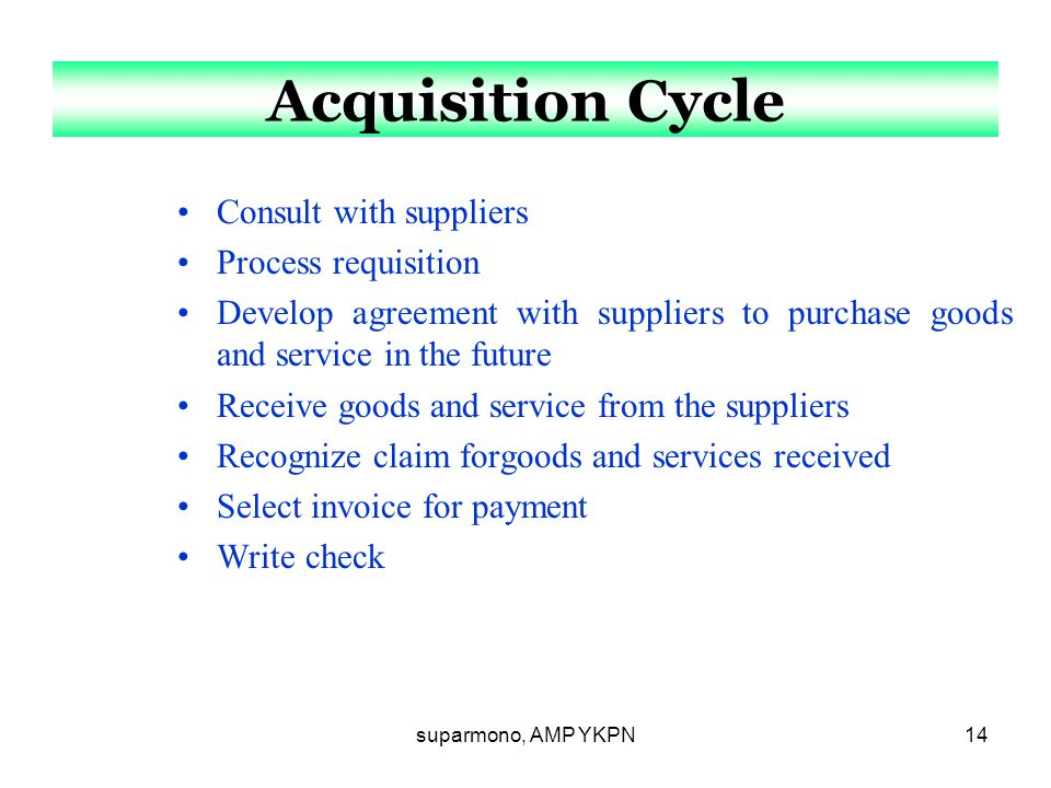 Acquisition Cycle Consult with suppliers Process requisition