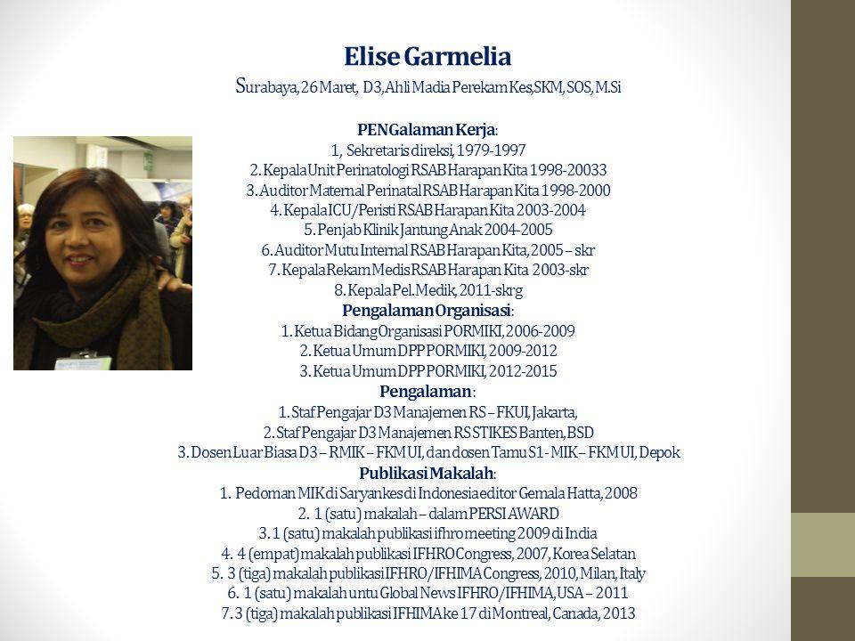 Elise Garmelia Surabaya, 26 Maret, D3, Ahli Madia Perekam Kes,SKM, SOS, M.Si PENGalaman Kerja: 1, Sekretaris direksi, 1979-1997 2.