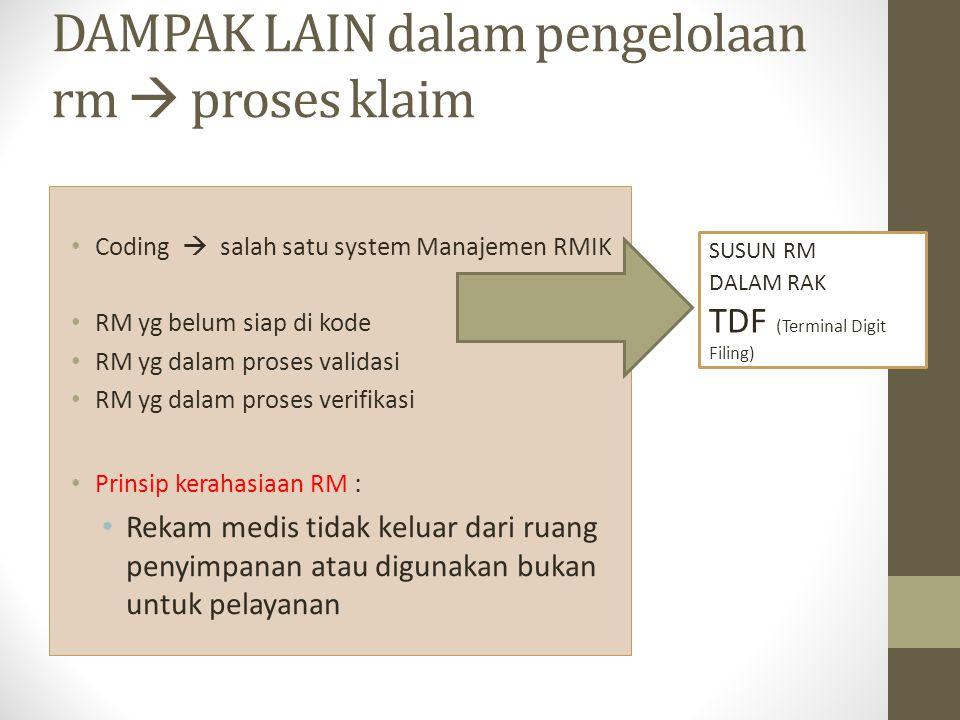 DAMPAK LAIN dalam pengelolaan rm  proses klaim