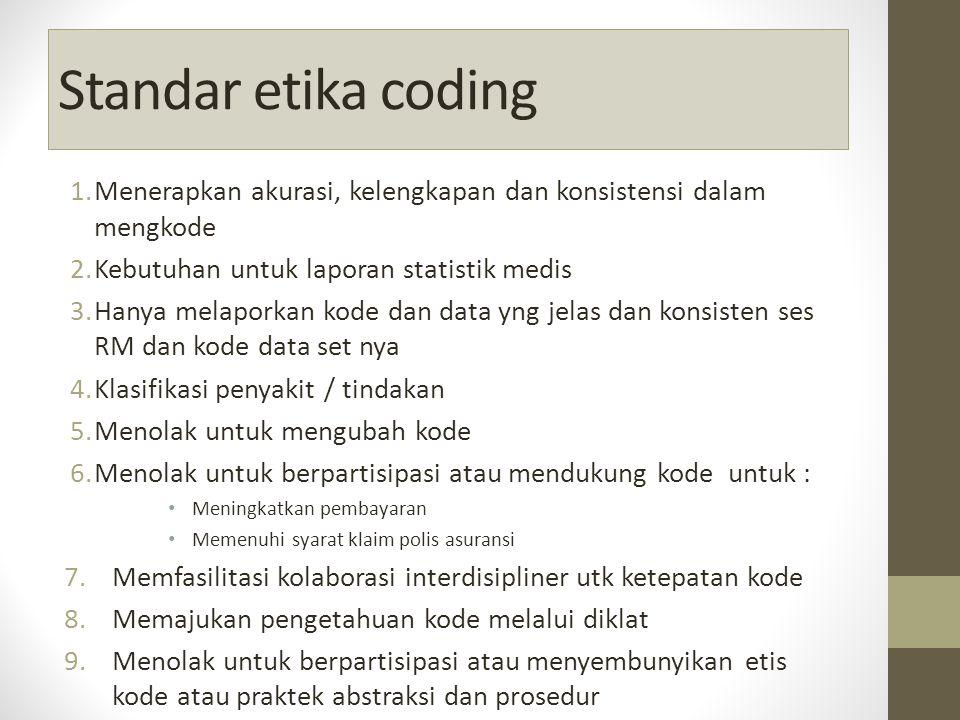 Standar etika coding Menerapkan akurasi, kelengkapan dan konsistensi dalam mengkode. Kebutuhan untuk laporan statistik medis.