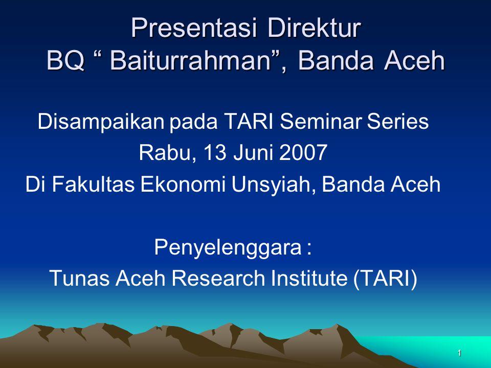 Presentasi Direktur BQ Baiturrahman , Banda Aceh