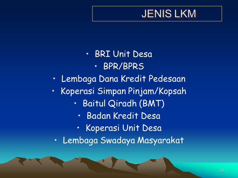 JENIS LKM BRI Unit Desa BPR/BPRS Lembaga Dana Kredit Pedesaan