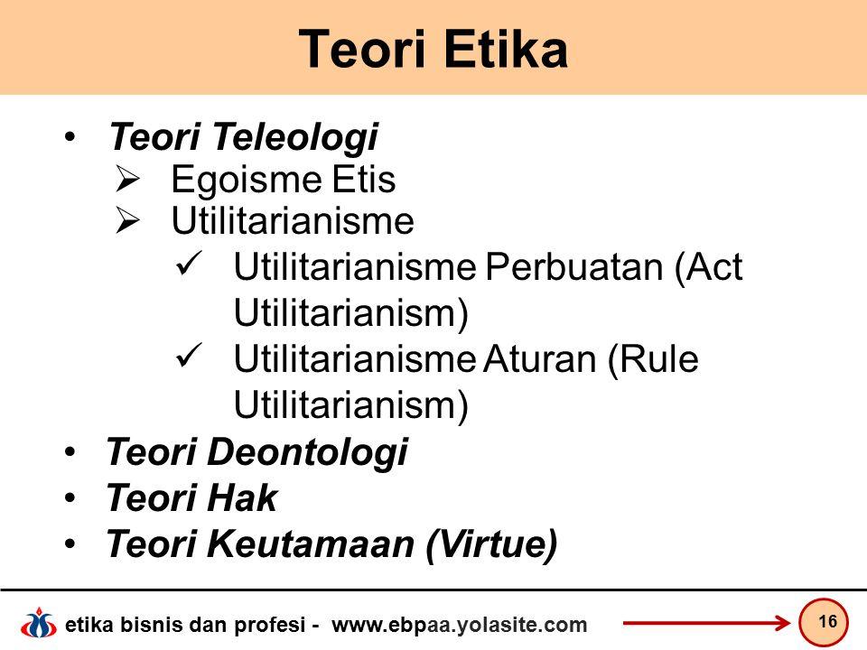 Teori Etika Teori Teleologi Egoisme Etis Utilitarianisme