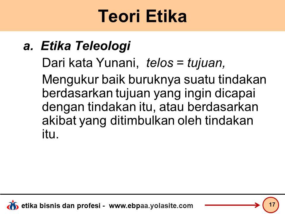 Teori Etika a. Etika Teleologi Dari kata Yunani, telos = tujuan,