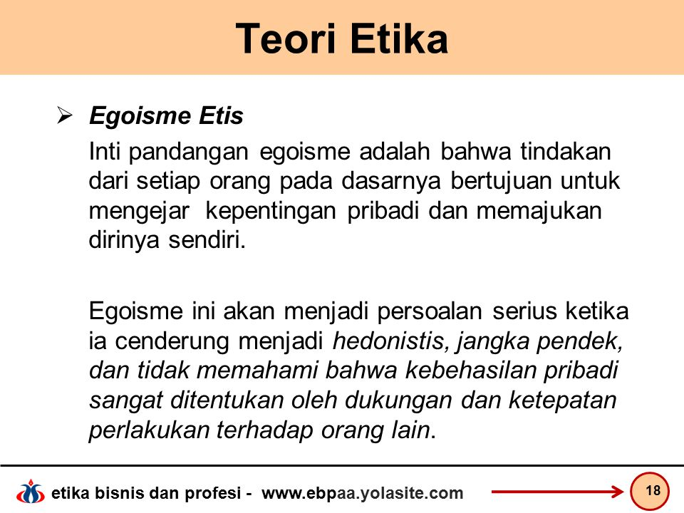 Teori Etika Egoisme Etis