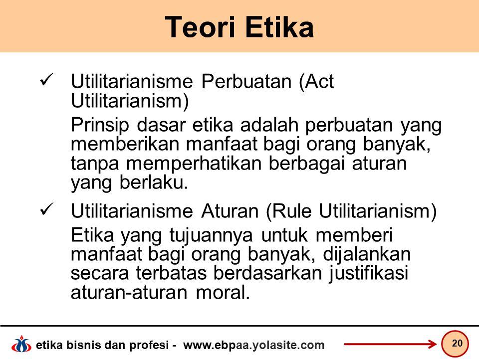 Teori Etika Utilitarianisme Perbuatan (Act Utilitarianism)