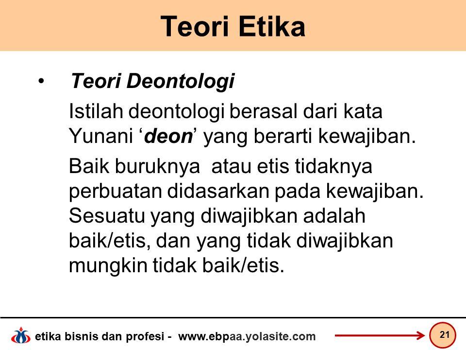 Teori Etika Teori Deontologi