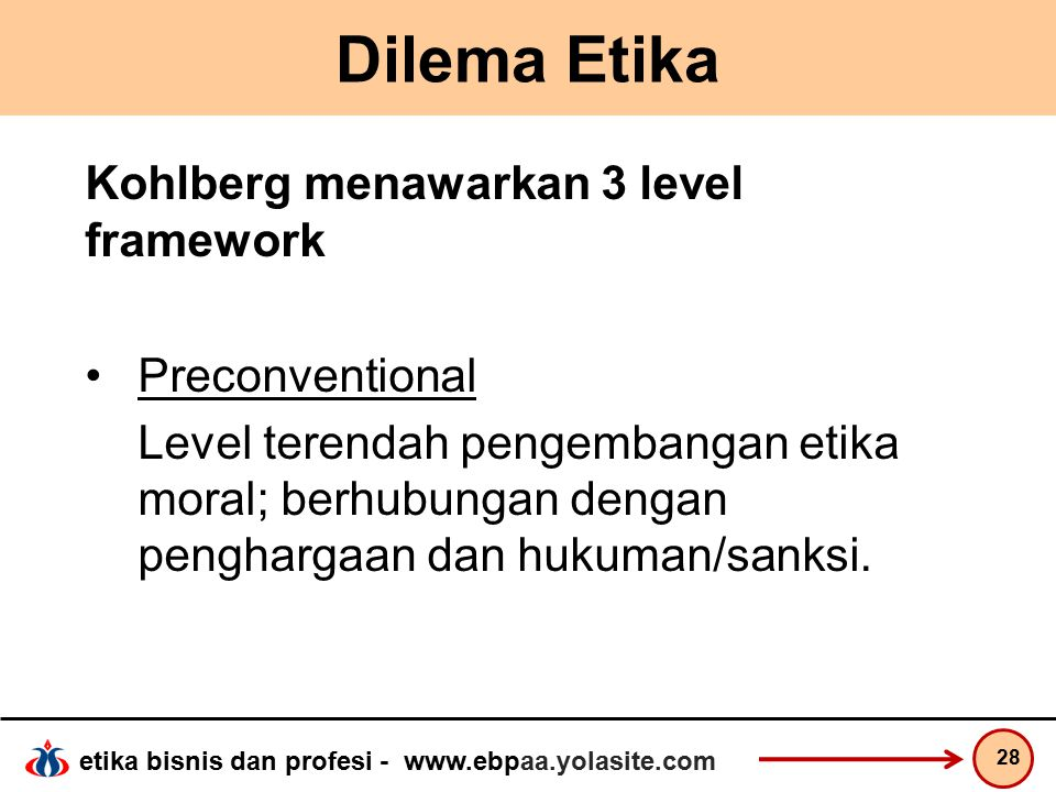 Dilema Etika Kohlberg menawarkan 3 level framework Preconventional