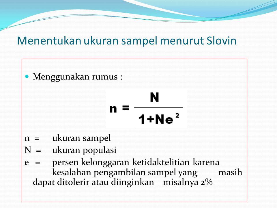 Menentukan ukuran sampel menurut Slovin