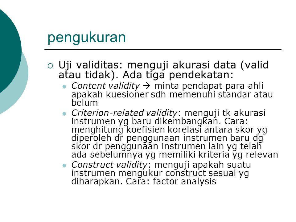 pengukuran Uji validitas: menguji akurasi data (valid atau tidak). Ada tiga pendekatan: