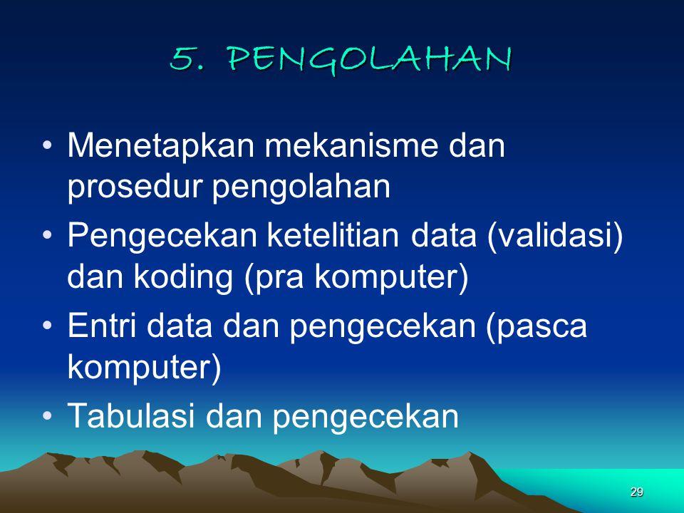 5. PENGOLAHAN Menetapkan mekanisme dan prosedur pengolahan