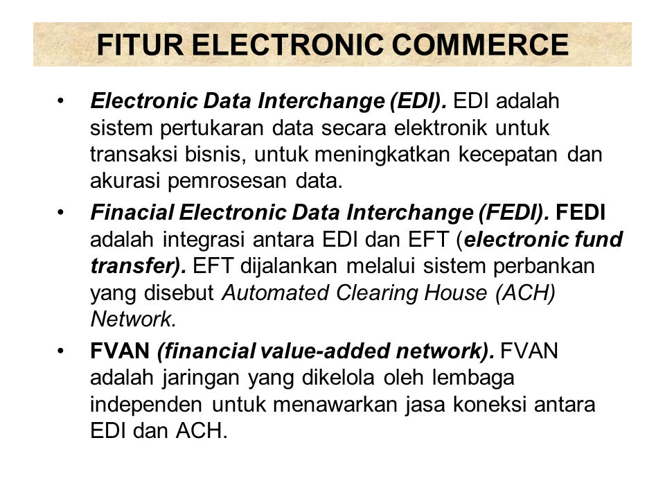 FITUR ELECTRONIC COMMERCE