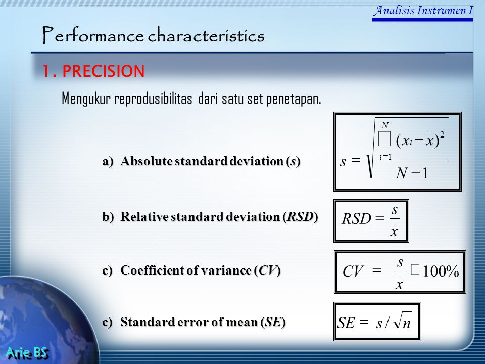 å Performance characteristics 1. PRECISION