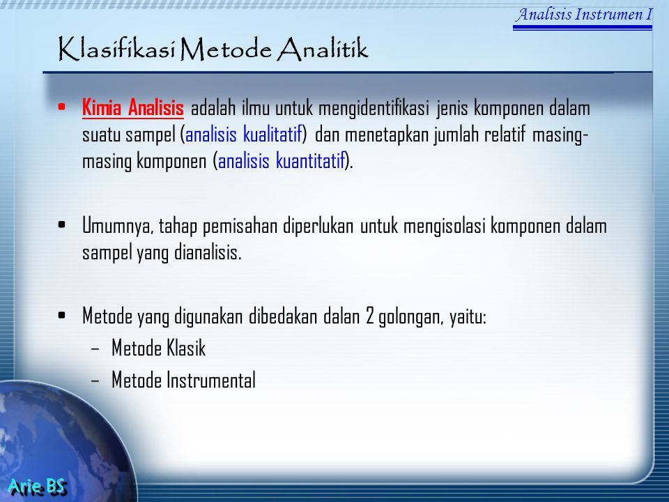Klasifikasi Metode Analitik
