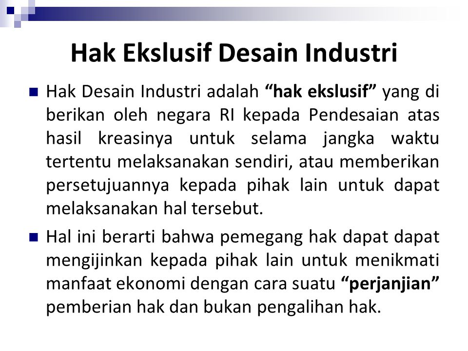 Hak Ekslusif Desain Industri