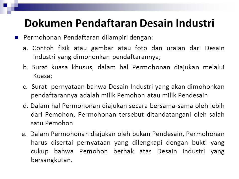 Dokumen Pendaftaran Desain Industri