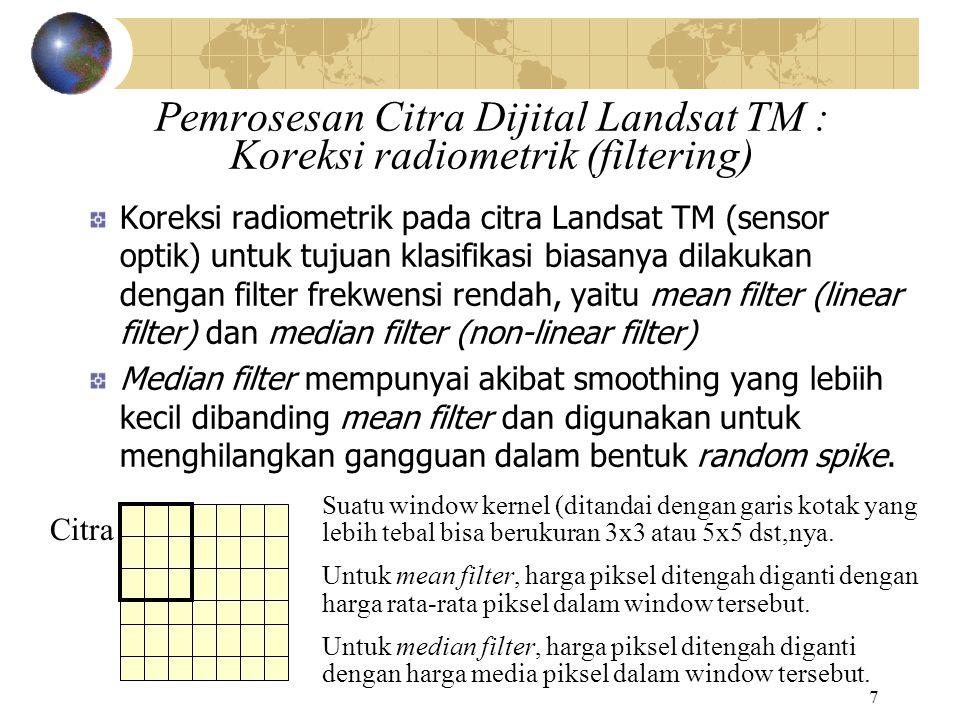 Pemrosesan Citra Dijital Landsat TM : Koreksi radiometrik (filtering)