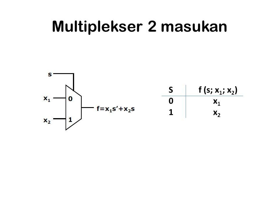 Multiplekser 2 masukan S f (s; x1; x2) 0 x1 1 x2