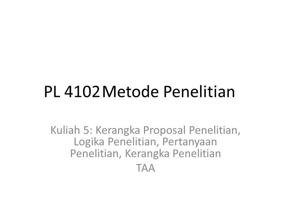 PL 4102 Metode Penelitian Kuliah 5: Kerangka Proposal Penelitian, Logika Penelitian, Pertanyaan Penelitian, Kerangka Penelitian.