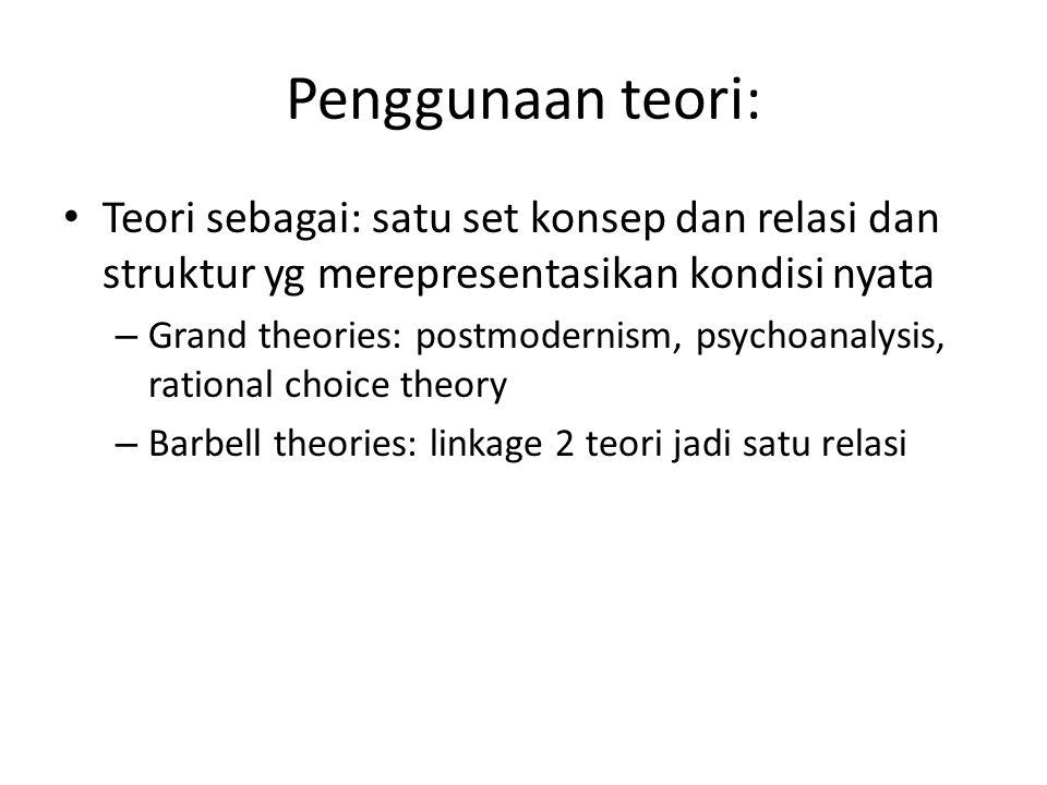 Penggunaan teori: Teori sebagai: satu set konsep dan relasi dan struktur yg merepresentasikan kondisi nyata.