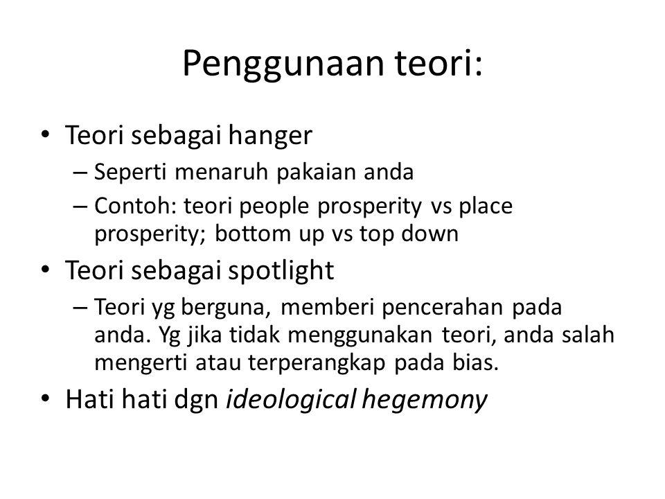 Penggunaan teori: Teori sebagai hanger Teori sebagai spotlight