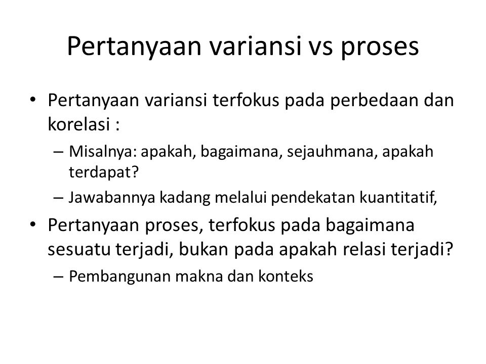 Pertanyaan variansi vs proses