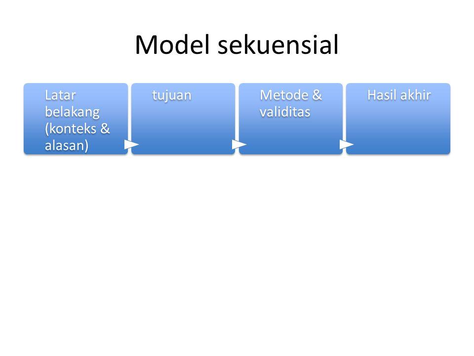Model sekuensial Latar belakang (konteks & alasan) tujuan
