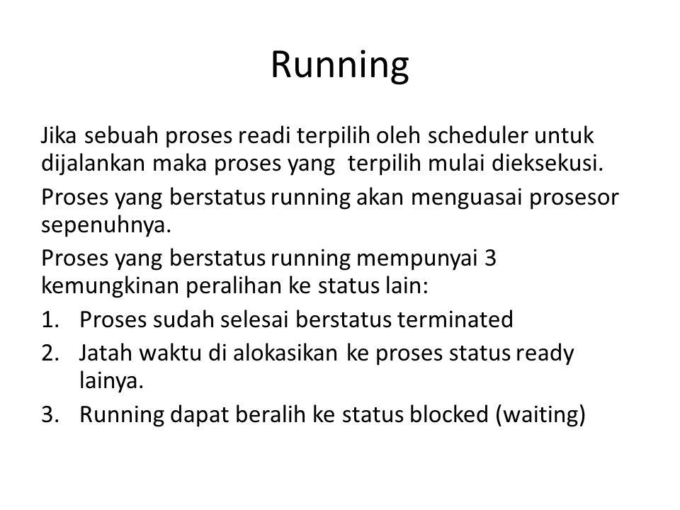 Running Jika sebuah proses readi terpilih oleh scheduler untuk dijalankan maka proses yang terpilih mulai dieksekusi.