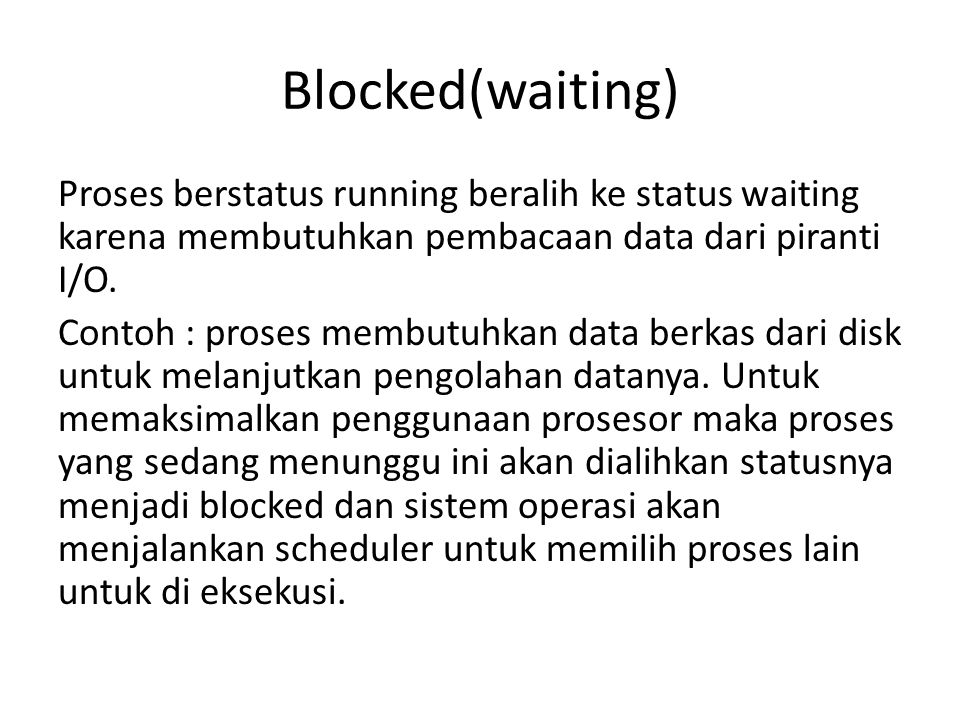 Blocked(waiting)